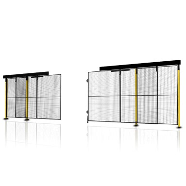 Double sliding door without overhead rail
